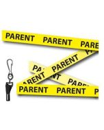 Yellow Parent Printed Lanyards - Metal Clip (Packs of 10)