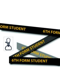 Black 6th Form Student Printed Lanyards - Double Sided - Metal Clip (Packs of 50)
