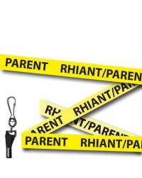 Yellow Parent Welsh/English Bilingual Lanyards - Metal Clip (Packs of 10)