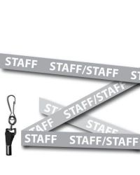 Grey Staff Welsh/English Bilingual Lanyards - Metal Clip (Packs of 10)