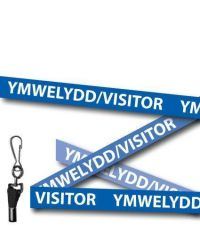 Blue Visitor Welsh/English Bilingual Lanyards - Metal Clip (Packs of 10)