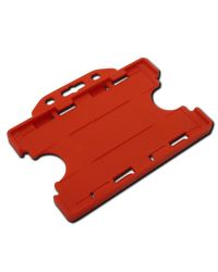 Plastic card holder - double sided Landscape 86mm x 54mm - red - Pack of 100