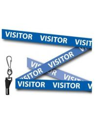 Blue Visitor Printed Lanyards - Metal Clip (Packs of 10)