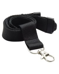 Plain Neck Lanyards 20mm Wide & Metal Trigger Clip - Black - Pack of 100
