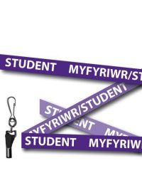 Purple Student Welsh/English Bilingual Lanyards - Metal Clip (Packs of 10)