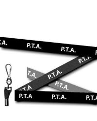 P.T.A Printed Lanyards Black 15mm Wide - Metal Clip - Pack of 10