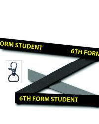 Black 6th Form Student Printed Lanyards - Single Sided - Metal Clip (Packs of 50)