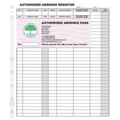 Personalised Authorised Absence Passes - Refills